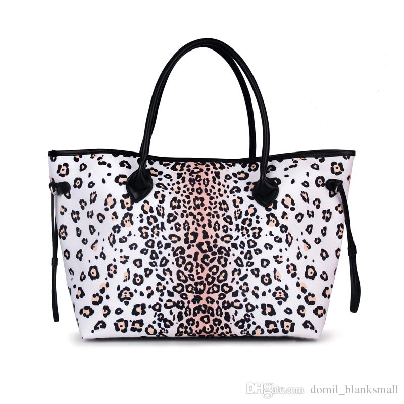 Women Black And White Ground Leopard Tote Bag Handbag Leopard Print Canvas Fashion Tote Bag Large Shopping Bag DOM874