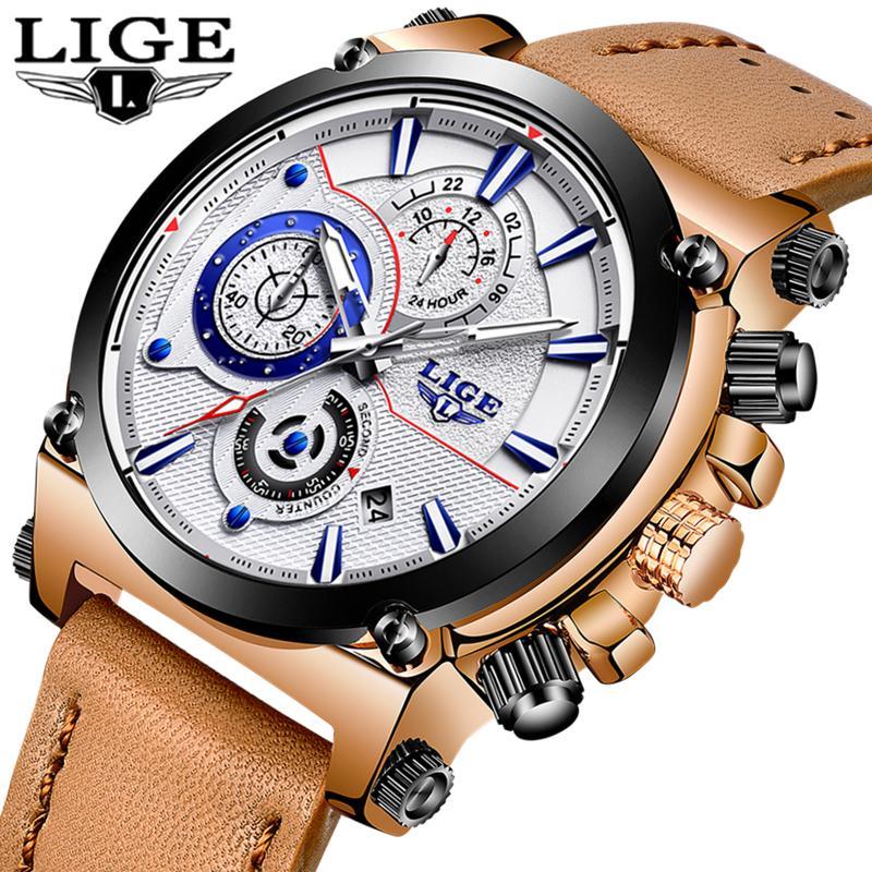 c33859076f66 Compre Lige Mens Relojes Top Luxury Brand Sport Watch Hombres Reloj De  Cuarzo Correa De Cuero Masculina Casual Reloj De Oro Relogio Masculino A   48.09 Del ...