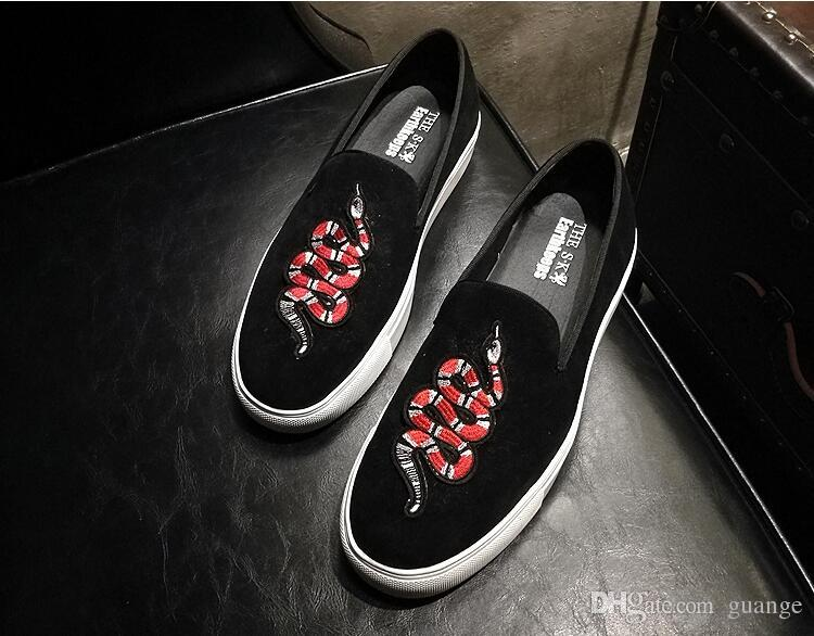 2018 New Style British style embroidery breathable slip-on men's shoes men love head society party wedding shoes men's flats loafers Z562