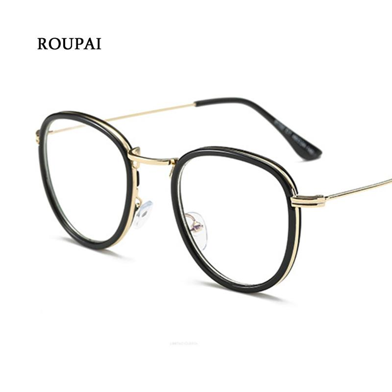 7837d04e92 ROUPAI Eyeglasses Frame Fashion Vintage Round Gold Frame Glasses ...