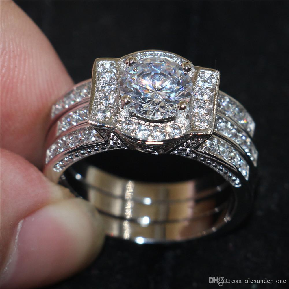 2018 Vintage 10kt White Gold Filled Rings Finger Lady Simulated