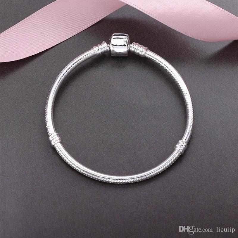 100% Real 925 Pulseiras De Prata Esterlina 3mm Cadeia Cobra Fit Pandora Charme Bead Bangle Bracelet DIY Jóias Presente Para As Mulheres Dos Homens com caixa