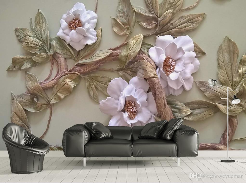 Custom 3d Wallpaper Murals Embossed Flower Tree Mural