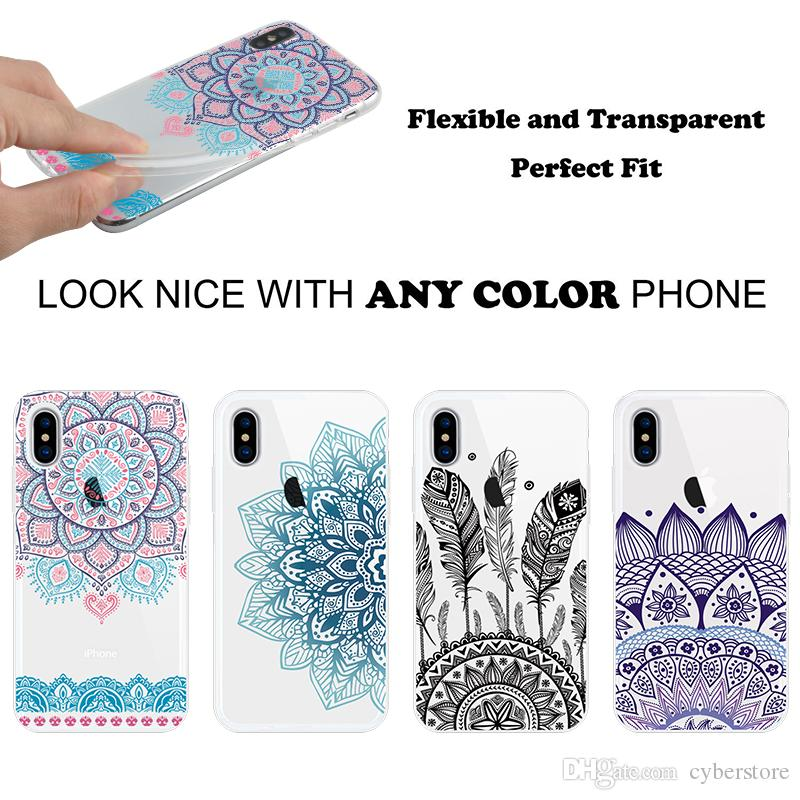 Customized Soft Gel Clear TPU Phone Case Flowers Printed Back Cover 1.4mm High Quality for Xiaomi Huawei Samsung S9 S8 A8