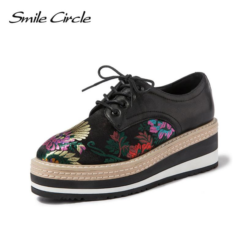 09737acbf9d2 Fashion Embroidery Women Platform Oxfords Flats Shoes Leather Lace Up  Pointed Toe Brand Female Footwear Shoes For Women Creepers Slip On Shoes  Mens Loafers ...