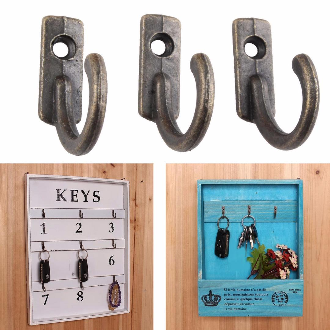 10Pcs Antique Wall Hooks Mounted Hooks Wall Key Holder Coat Hanger Decorative Hanging for Door