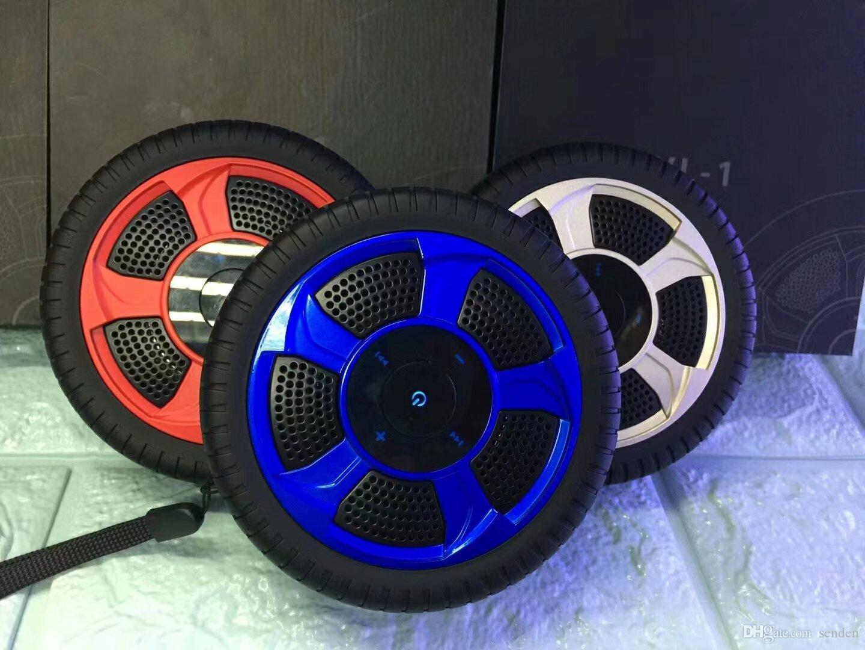 Nuevos Neumáticos para automóvil rueda altavoz bluetooth con micrófono Teléfono Altavoz Música Estéreo 12 cm Neumáticos Rueda en forma de rollo Tarjeta TF jugar Barra de sonido