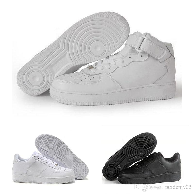 new styles 675ae 9dc73 Acheter NIKE Air Force 1 Leather AF1 2018 New Dunk Hommes Femmes Flyline  Sports Chaussures De Skateboard High Low Cut Blanc Noir En Plein Air  Baskets ...