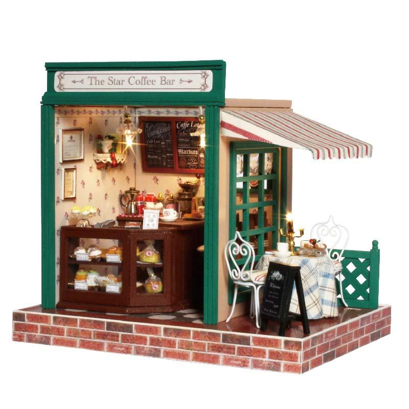 Astonishing Handmade Toy Dream House Model Kit Room Box Home Assemble Miniature Dollhouse Diy Doll House Girl Gift Present Star Coffee Bar Download Free Architecture Designs Viewormadebymaigaardcom