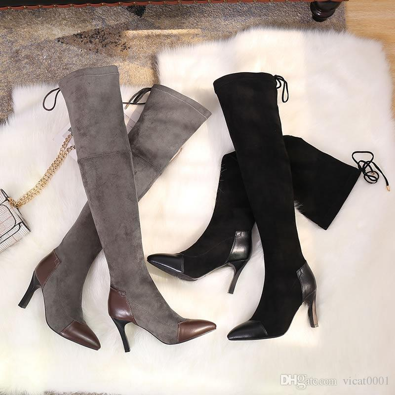 2969c1abfa4 Pointed Toes Boots Splice PU Over The Knee Boots Winter Warm Black High  Boots Long Shoes Pink Shoes Munro Shoes From Vicat0001