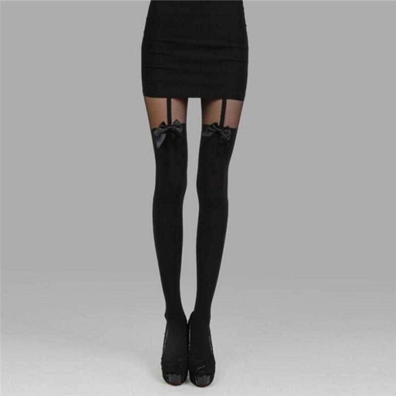 f8d4a96d3 Medias negras atractivas de las mujeres Medias finas Arco Pantimedias  Tatuaje Mock Arco Suspender Sheer Stocking Femenino negro Golfs