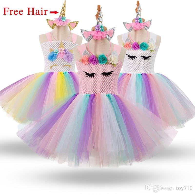 2019 Free Hair+ Girls Unicorn Tutu Dress Rainbow Princess Kids Party Dress  Girls Christmas Halloween Pony Cosplay Costume 1 12 From Toy710 26e8fea94534