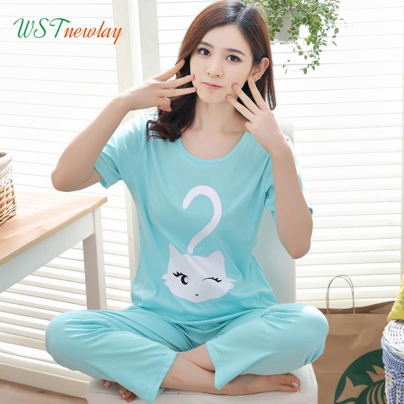 783f9dca3854 2019 WSTNewLay Summer Ladies Thin Pajamas Set Cotton Cartoon Short ...