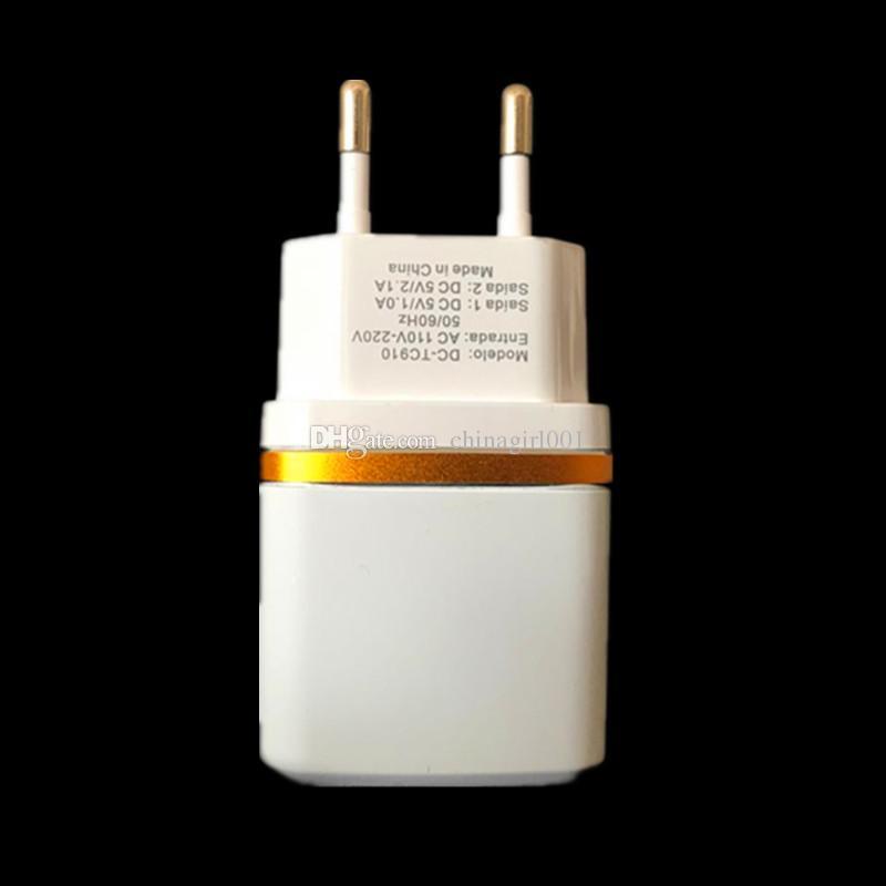 Portas usb dupla ue eua 2.1a + 1a ac carregador de parede para ipad iphone 7 8x samsung s7 s8 android pc mp3