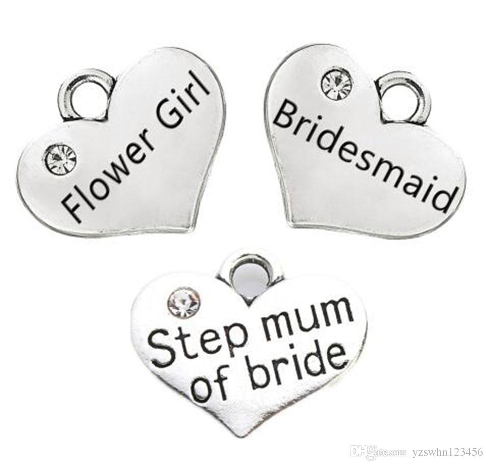 Alloy Metal Bridesmaid Flower Girl Step Mum Of Bride Clear Stone