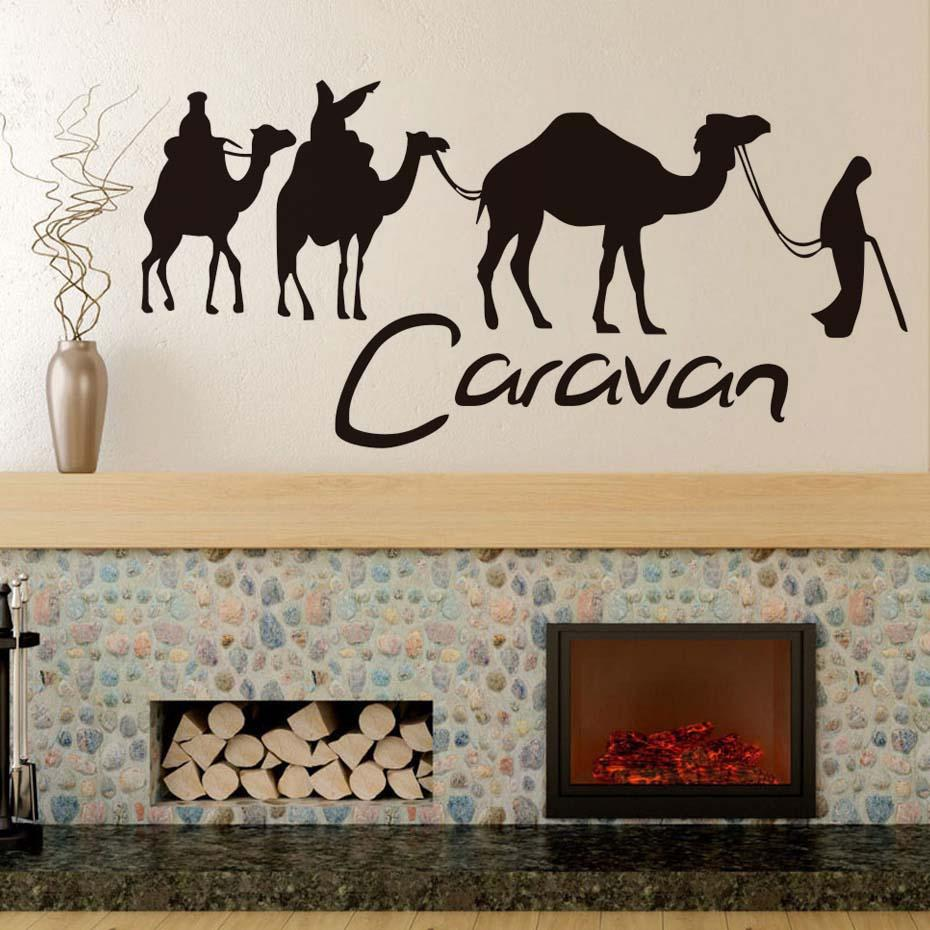 Welcome Decals Caravan And Camel Wall Stickers Wallpapers Large Art Sticker  People For Decoration Sweet Room
