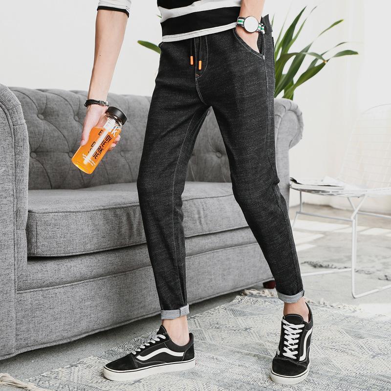 9f28ec9935d5c 2018 Summer Stretch Black Jeans Slim Fit Young Men Denim Capris ...