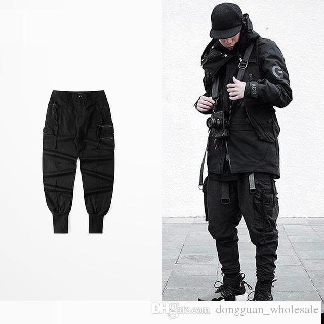 3d6eb7ed13743b 2019 Ribbons Pockets Cargo Pants Hip Hop Street Joggers Trousers Asian  Size!! Slim Fit Sweatpants Tattoos Rap Men Clothing From  Dongguan_wholesale, ...