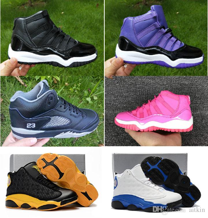 size 40 a6d4e a87aa Children Sneakers Kids Basketball Shoes Boys Girls 11s Blue White Wolf Gray  5s Basketball Shoes Toddlers Birthday Gift Size 28 35 Girl Sport Shoes Boys  ...
