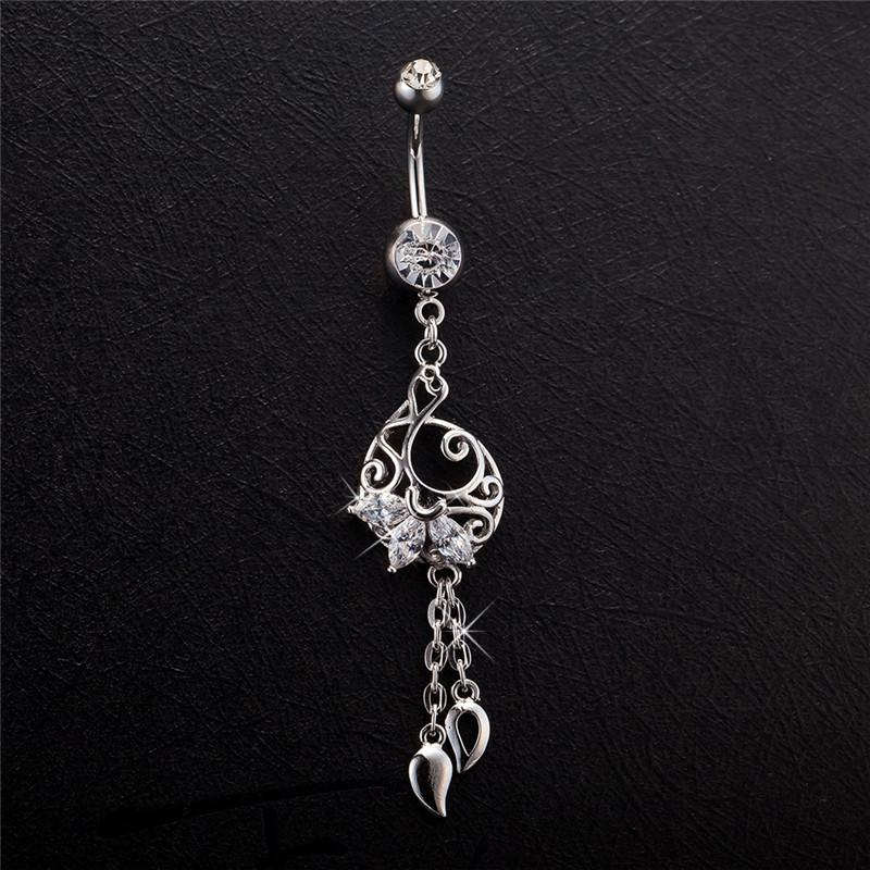 KUNIU Fashion long section hollow water droplets Piercing jewelry women surgical steel belly button rings