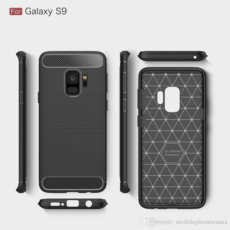 CellPhone Cases For Samsung Galaxy S9 TPU Carbon Fiber heavy duty case for Galaxy S9 Plus cover Free DHL shipping