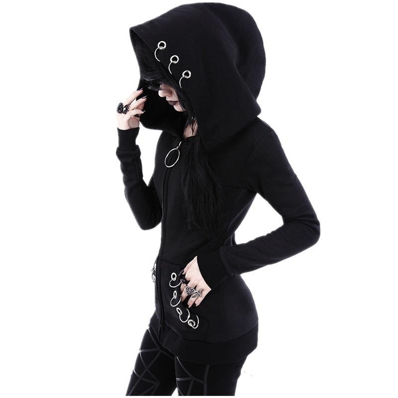 04711b78acea Punk Hoodie Women Coat Female Long Sleeve Zipper Hoodies Jacket Punk ...