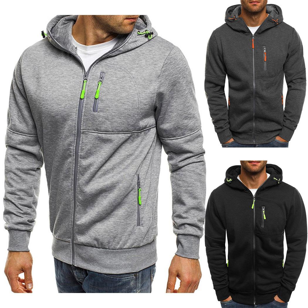 08d9d235f 2018 Autumn Winter Men Hoodies Jacket Casual Zipper Fitness Hooded ...