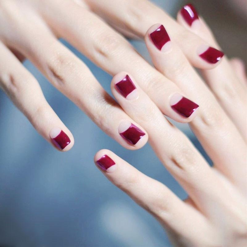 Short Full Nails French Fake Nails Purplish Rose Red Paragraph Fake