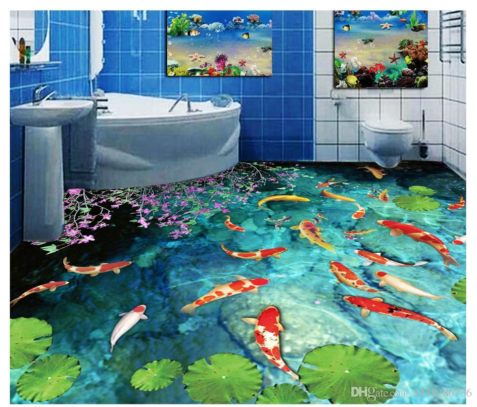 Customized 3D PVC wallpaper floor painting wall paper Waterproof Self-adhesive Flooring Wall Sticker Stream pond carp bedroom 3D floor