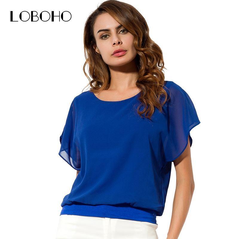 40ff6a62862 Ruffle Chiffon Blouse Short Sleeve New Fashion 2018 Summer Tops And Blouses  5XL Plus Size Women Clothing Loose Casual Shirt UK 2019 From Xuqiuxiang3
