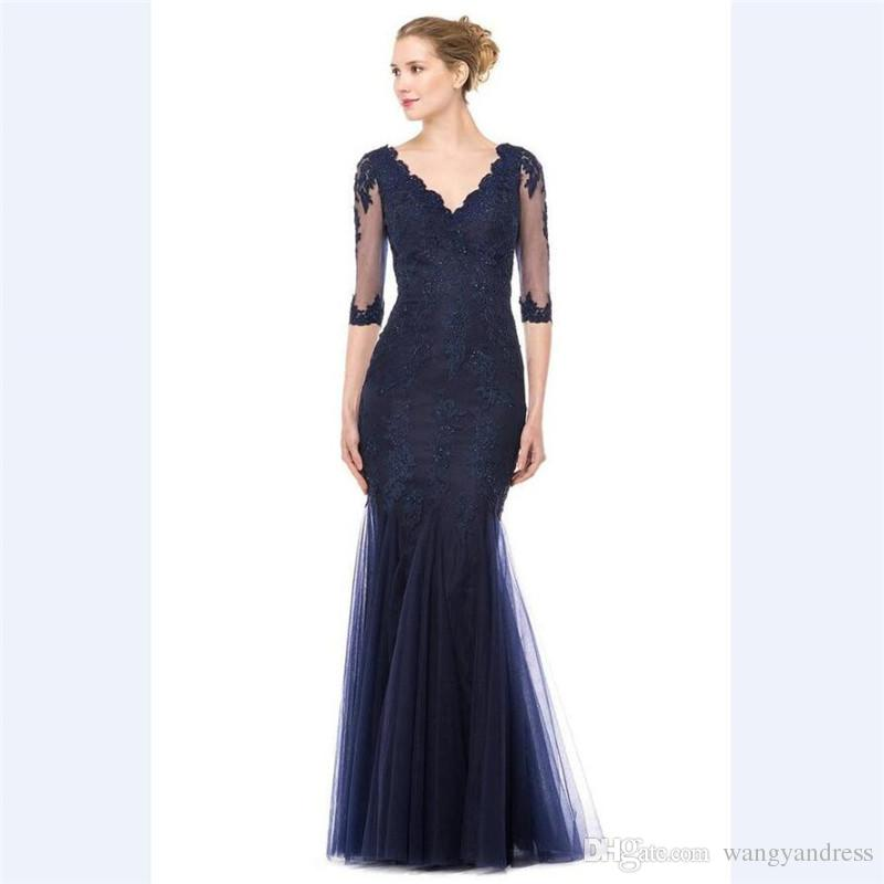 2018 Elegant Blue Tulle Mermaid Mother's Dresses Custom 1/2 Sleeves Mother Of the Bride Dress V Neck Sequins Lace Evening Gowns