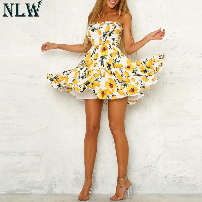 NLW Vintage Lemon Print Summer Dress Strapless