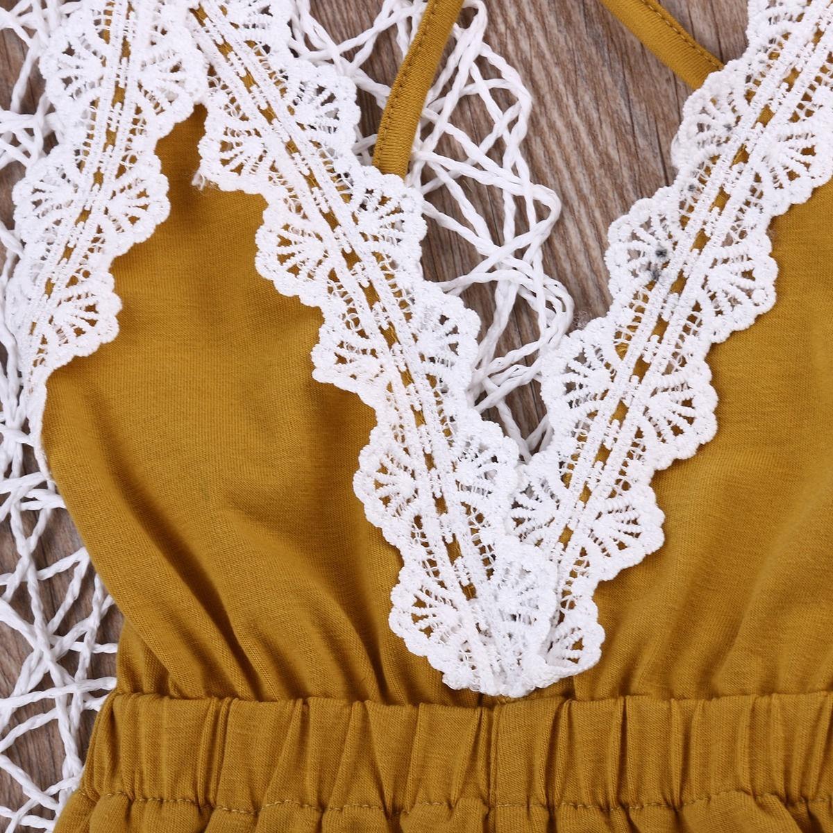 Bebek kız giysileri Dantel Bebek Kız Halter Bir adet Romper Tulum Sunsuit Kıyafet Giysi 0-24 M