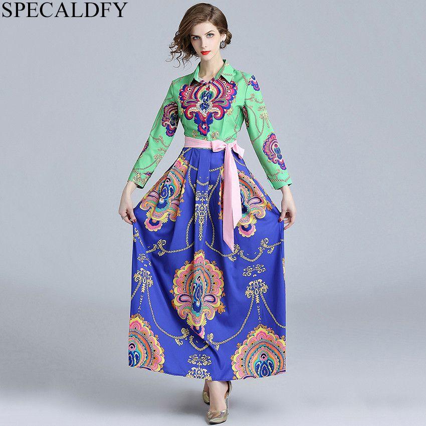 511b241ba6 2019 Designer Runway Dresses 2018 Women Luxury Print Ethnic Vintage Dress  Autumn Long Maxi Dresses Party Robe Femme Vestidos Mujer From Pileilang