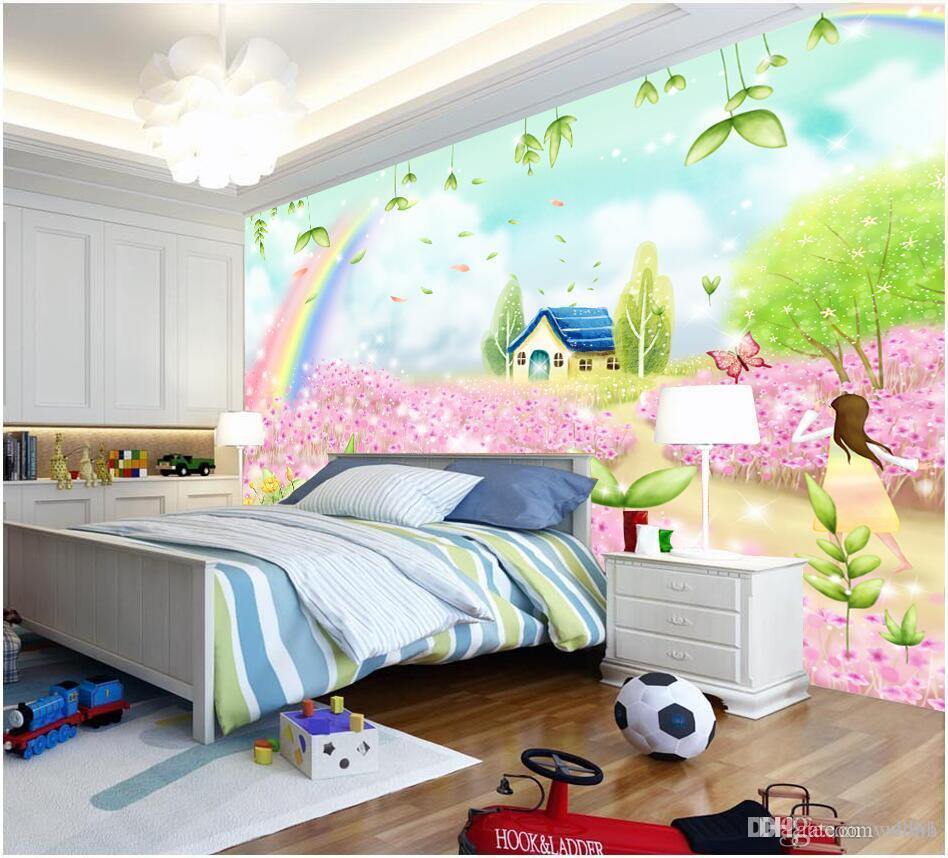 Papier peint de la chambre 3d personnalisé photo non-tissé chambre des  enfants fantaisie conte de fées chalet dessin animé peintures murales de  fleurs ...