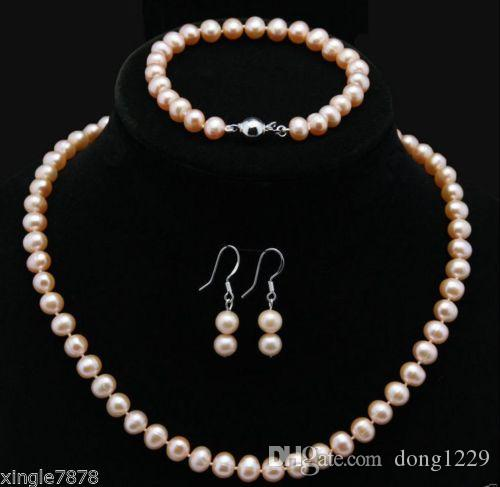 404ca3ab078b Compre Collar De Perlas Cultivadas Akoya Rosa Natural De 9 A 10 Mm ...