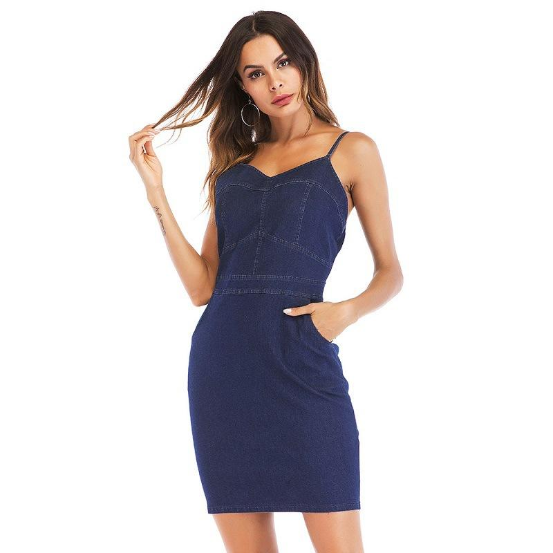 2018 Pencil Dresses For Women Summer Plus Size Blue Dress 2018