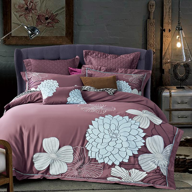 White flowers luxury long staple cotton embroidery pink bedding set white flowers luxury long staple cotton embroidery pink bedding set duvet cover bed linen bed sheet pillowcase king queen size gray comforter sets cabin mightylinksfo