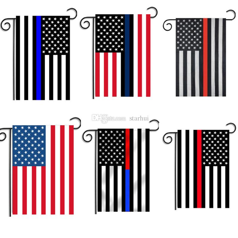 748b8a4e3a68 2019 30 45CM America Garden Banner Flags Blue And Red Line USA Police Flags  Thin Blue Red Line USA Flag Black White And Blue WX9 551 From Starhui