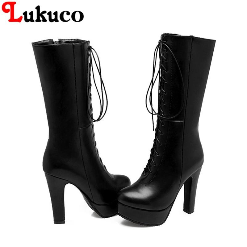 7bee97939 Compre 2018 Plataforma Madura Botas Grande Tamanho Grande 37 38 39 40 41 42  43 44 45 46 47 48 49 Dedo Do Pé Redondo Projeto Lace Up Mulheres Sexy  Sapatos De ...