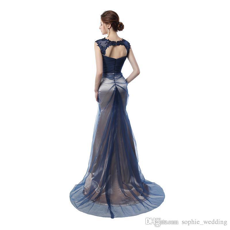 Real Pictures Navy Blue Mermaid Evening Gowns 2018 Grey Color Vintage Party Gowns Prom Dresses