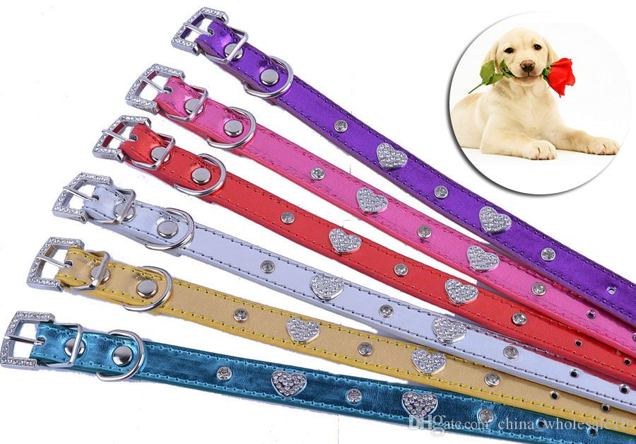 Red Pink Blue Leather Dog Collar Personalized Rhinestone Buckle Collar For Dogs Small Pet Necklace Chihuahua Teddy wholesale