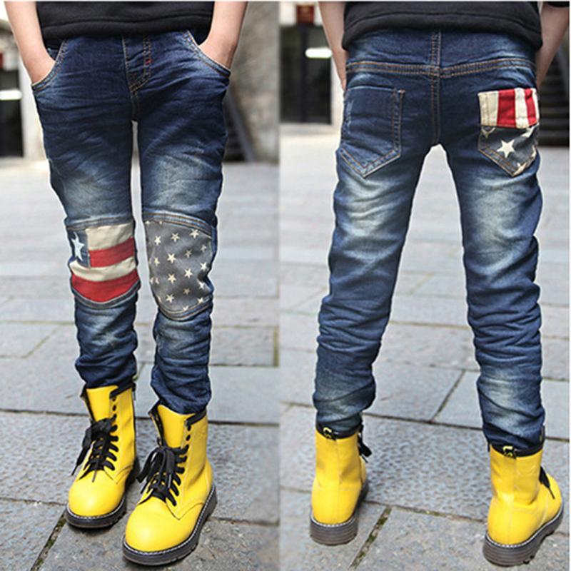 Winter Boys Jeans Children Warm Denim Trousers Children Flag Pattern Pants Kids Flannel Jeans Autumn Jean enfant New Year