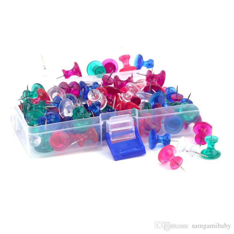 دبابيس الدفع الجامبو 100 عدد ، مسامير ملونة واضحة بحجم الإبهام 11 ملم من الفولاذ ، 16 * 13 ملم من البلاستيك الشفاف