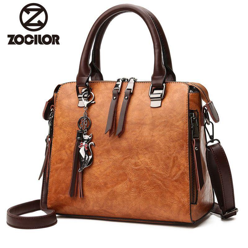 75823feb9f85 Fashion pu leather Women Shoulder Bag Female Tassel Pendant Women Handbag  Double zipper Large Messenger Bags Sac