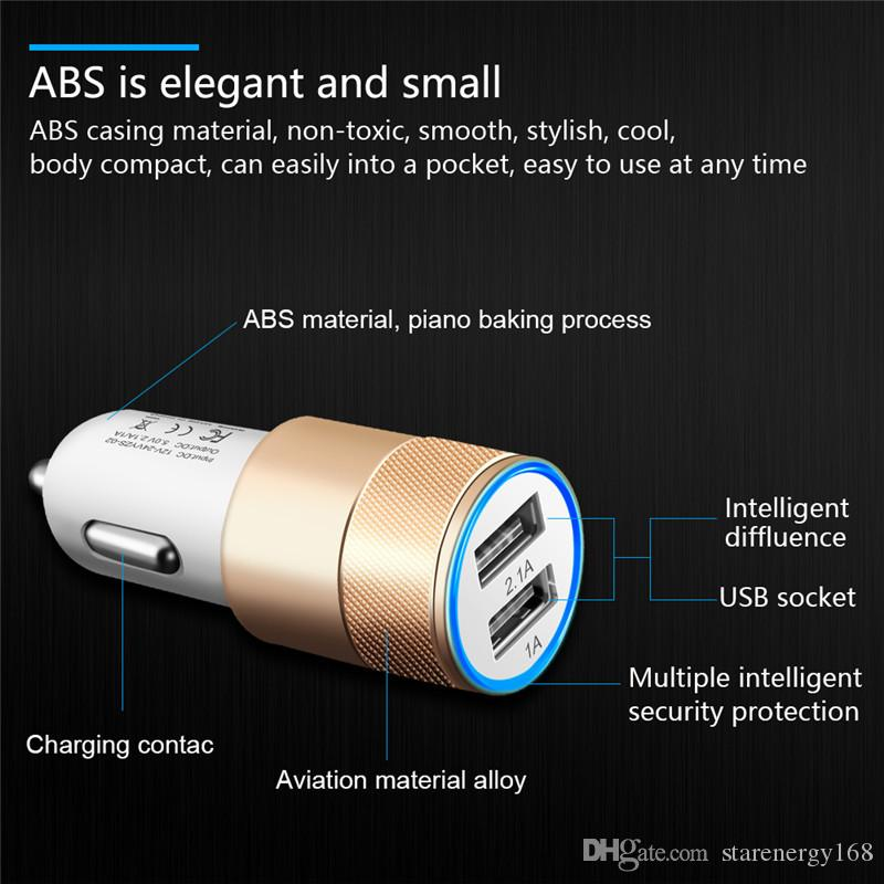 168 Hot Aluminum Alloy 2 USB Ports Universal Intelligent Charging Strong Compatible DC12-24V 2.1A Dual USB Car Charger for All Mobile Phone