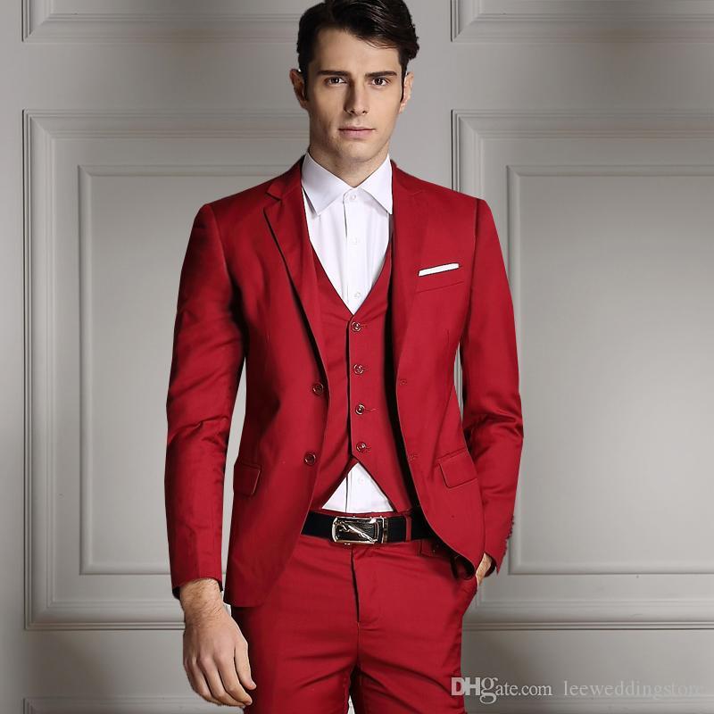 Compre 2018 Nuevos Llegados Trajes De Hombres Rojos Blazer Slim Fit  Negocios Esmoquin A Medida Traje De Novia De Boda Formal Terno Masculino 3  Piezas ... a978d78e1cb