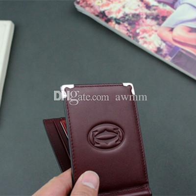 Male Wallet Brand Dollars Clip Vintage Classic Genuine Leather Men Money Clip Solid Purses Designer Cash Holder Card Cases With Box