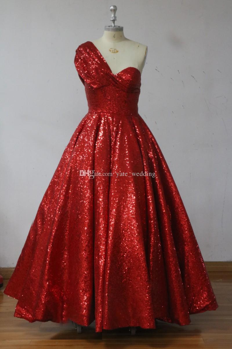 Koyu Kırmızı Sequins Balo Abiye Bir Omuz Ruffles Ayak Bileği Uzunluk Suudi Arapça Gelinlik Örgün Abiye giyim Fermuar Up