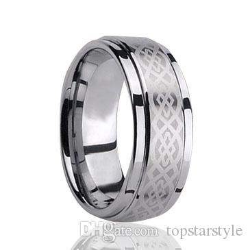 8mm Wholesales Brushed Fashion Engraving Tungsten Carbide Band for Men Fashion tungsten jewelry ring US size 4 to 17 big size